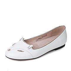 Tata/他她2017秋季白色羊皮珍珠金属风时尚内增高女浅口鞋FM901CQ7