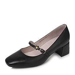 Tata/他她秋黑色羊皮甜美花朵一字带玛丽珍鞋粗跟女皮鞋SLTH1CQ7