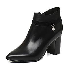Tata/他她2017冬黑色珍珠饰扣尖头及踝靴粗高跟女短靴FB654DD7