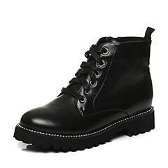 Tata/他她2017冬黑色牛皮串珠绑带马丁靴女休闲靴FS140DD7