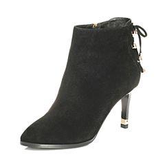 Tata/他她2017冬黑色羊皮水钻绑带尖头细高跟女皮靴FNP40DD7