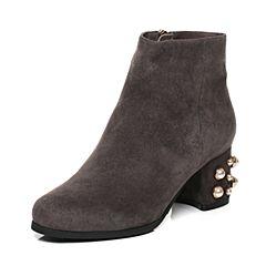 Tata/他她2017冬灰色羊皮绒面简约风珍珠跟女短靴FN940DD7