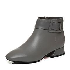 Tata/他她2017冬灰色牛皮大方扣时尚通勤及踝靴女皮靴FT341DD7