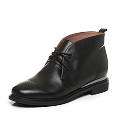 Tata/他她2017冬黑色小牛皮英伦雕花绑带及踝靴女休闲靴FS540DD7