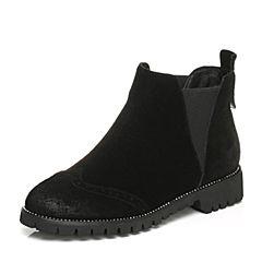 Tata/他她2017冬黑色牛剖层皮磨砂雕花套筒女休闲靴FT240DD7