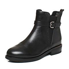Tata/他她2017冬黑色牛皮时尚通勤皮带扣方跟女短靴2YWH8DD7