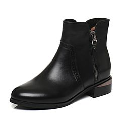 Tata/他她2017冬黑色牛皮时尚雕花方跟女休闲靴2L048DD7