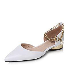 Tata/他她2017秋白色牛皮珍珠金属脚链套脚尖头女凉鞋FU107CK7