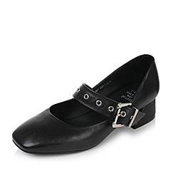 Tata/他她2017秋黑色牛皮一字带方头粗跟女玛丽珍鞋FTH01CQ7