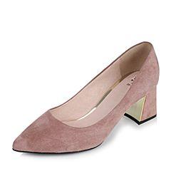 Tata/他她2017秋粉色羊皮复古绒面尖头粗跟浅口女鞋FT104CQ7