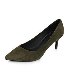 Tata/他她2017秋绿色羊绒皮时尚尖头高跟浅口女鞋FRW01CQ7