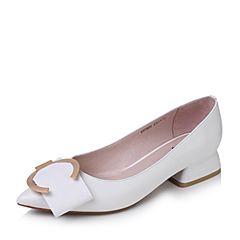 Tata/他她2017秋季白色羊皮金属几何大扣尖头套脚女皮鞋D1738CQ7