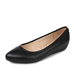 Tata/他她2017秋黑色牛皮时尚简约尖头内增高女单鞋DF170CQ7