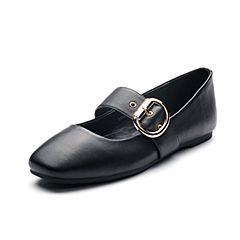 Tata/他她秋专柜同款黑色牛皮方?#33778;?#24102;扣女休闲鞋T3309CQ7