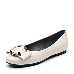 Tata/他她秋专柜同款白色羊皮金属扣通勤浅口女皮鞋T3308CQ7