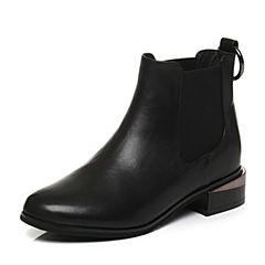 Tata/他她专柜同款黑色牛皮金属扣通勤女短靴2L041DD7