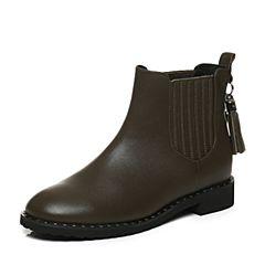 Tata/他她2017冬专柜同款绿色牛皮流苏切尔西靴女休闲靴FAU50DD7