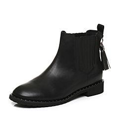 Tata/他她专柜同款黑色牛皮流苏切尔西靴女休闲靴FAU50DD7