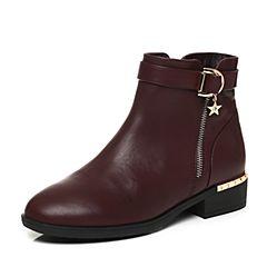 Tata/他她2017冬专柜同款酒红牛皮金属扣方跟女短靴FAL43DD7