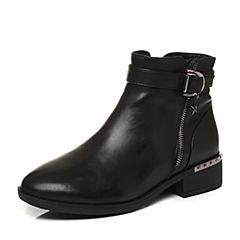 Tata/他她2017冬专柜同款黑色牛皮金属扣方跟女短靴FAL43DD7