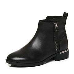 Tata/他她2017冬专柜同款黑色牛皮通勤方跟女皮靴FAL40DD7