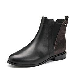 Tata/他她2017冬专柜同款黑/啡牛皮通勤切尔西靴女短靴2YWH6DD7
