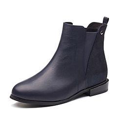 Tata/他她2017冬专柜同款深兰牛皮通勤切尔西靴女短靴2YWH6DD7