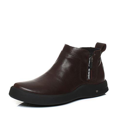 Tata/他她季棕色牛皮男休闲鞋低帮靴V3366DD7