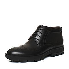 Tata/他她2017冬黑色牛皮英伦雕花绑带及踝靴男皮靴06651DD7