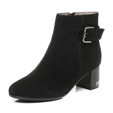 Tata/他她黑色羊绒皮通勤简约皮带扣粗跟女短靴66207DD7