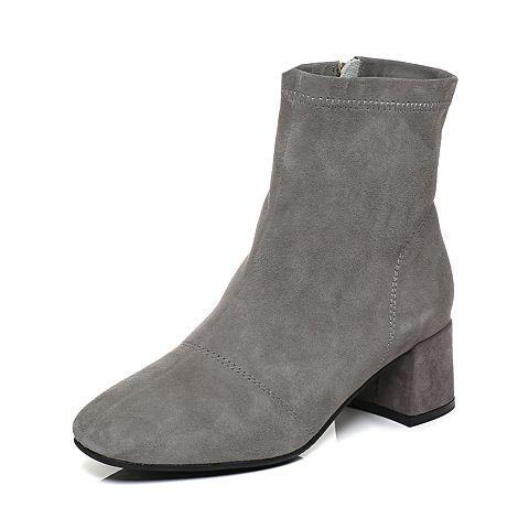 Tata/他她2017冬灰色羊皮绒面方头靴粗跟女短靴17210DD7