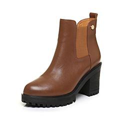 Tata/他她2017冬棕色牛皮通勤简约套筒粗高跟女短靴50288DD7