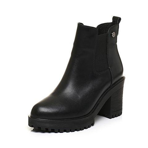 Tata/他她黑色牛皮通勤简约套筒粗高跟女短靴50288DD7