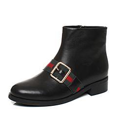 Tata/他她2017冬黑色牛皮英伦织带皮带扣方跟女皮靴17182DD7