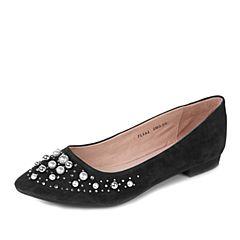 Tata/他她秋黑色羊皮复古绒面珍珠水钻尖头女单鞋FL9A2CQ7