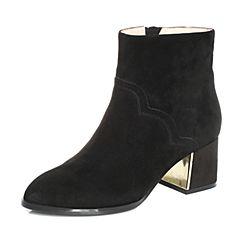 Tata/他她2017冬黑色羊皮绒面通勤简约粗高跟女皮靴23C06DD7