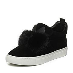 Tata/他她2017冬黑色时尚拼接风貂毛装饰平底女休闲靴Y7801DD7