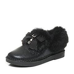 Tata/他她2017冬黑色牛皮拼接兔毛时尚方跟女休闲靴73010DD7