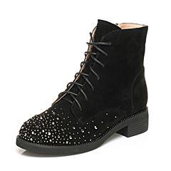 Tata/他她2017冬黑色羊绒皮水钻绑带休闲靴方跟女短靴27408DD7