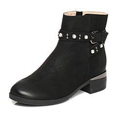 Tata/他她2017冬黑色磨砂牛皮珍珠铆钉皮带扣休闲女短靴37496DD7