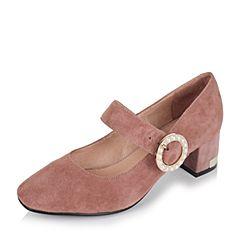 Tata/他她秋粉色羊绒皮珍珠一字带复古粗跟女玛丽珍鞋67635CQ7