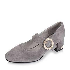 Tata/他她2017秋灰色羊绒皮珍珠一字带复古粗跟女玛丽珍鞋67635CQ7