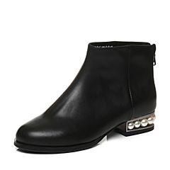 Tata/他她2017冬黑色牛皮时尚优雅珍珠跟及踝靴女短靴FAP48DD7