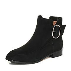 Tata/他她2017冬黑色羊皮金属扣及踝靴通勤女短靴FHK40DD7