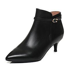 Tata/他她2017冬黑色牛皮尖头及踝靴猫跟女皮靴2V341DD7
