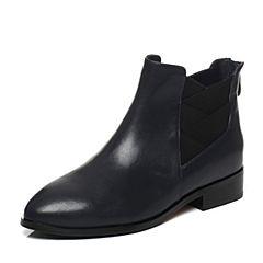 Tata/他她2017冬兰色牛皮时尚简约及踝靴方跟女短靴FHF45DD7