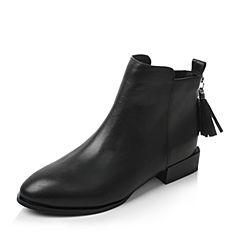 Tata/他她2017冬黑色牛皮流苏简约风通勤方跟女短靴FHF44DD7