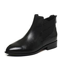 Tata/他她2017冬黑色牛皮时尚简约及踝靴方跟女短靴FHF45DD7
