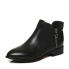 Tata/他她2017冬专柜同款黑色牛皮饰扣通勤方跟女短靴FHF41DD7