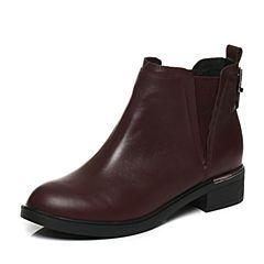 Tata/他她2017冬专柜同款酒红牛皮饰扣切尔西靴女短靴FAX42DD7